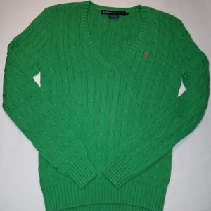 Ralph Lauren Sport Cable Knit V-neck Sweater